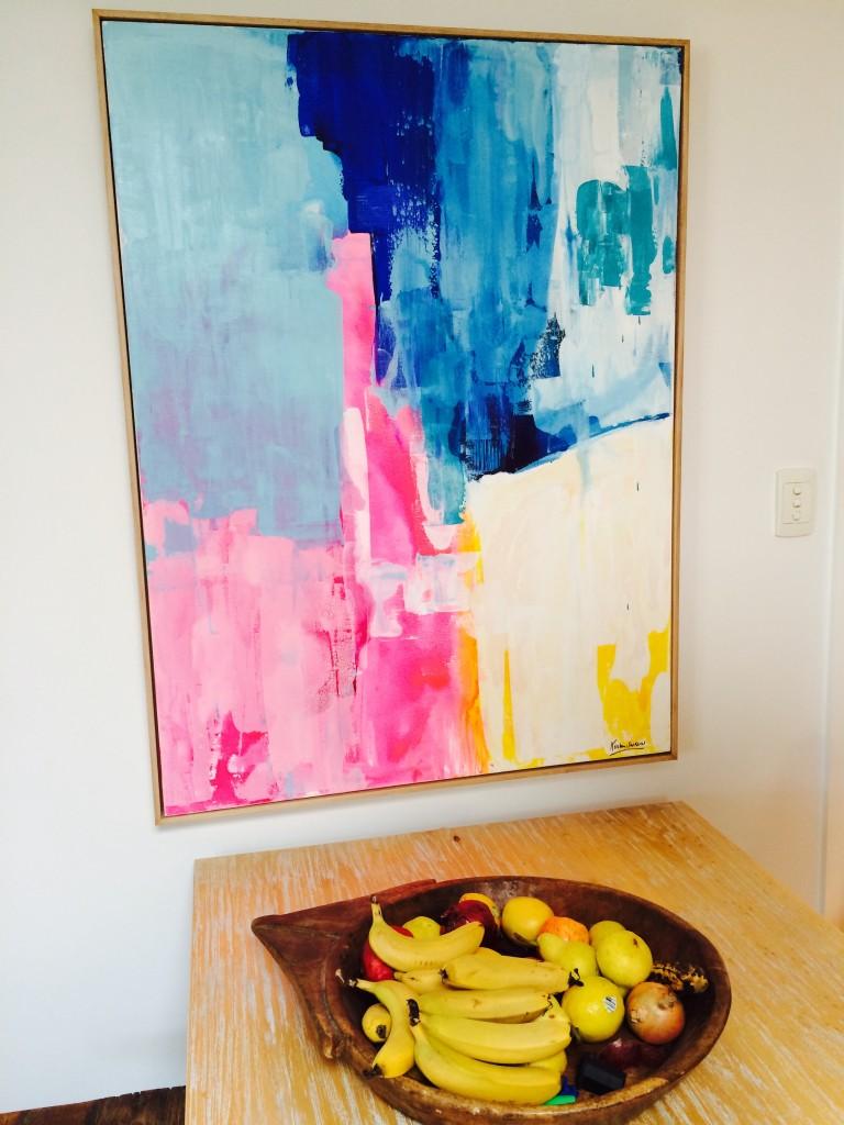 Stacey's new Kirsten Jackson piece in her living room.