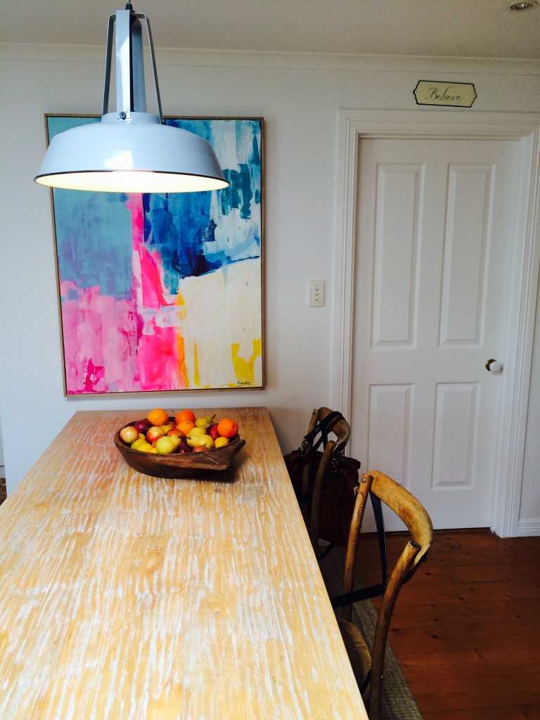 Dining area - HK Living pendant light - Fruit bowl from The Assembly Hall - Art from Kirsten Jackson