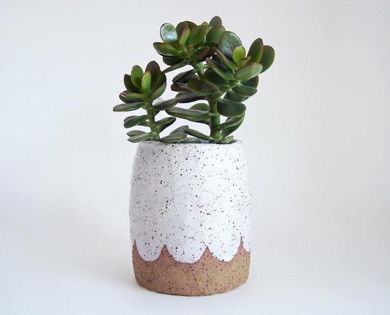 Scalloped Pottery Planter - 50.00 - susansimonini.etsy.com