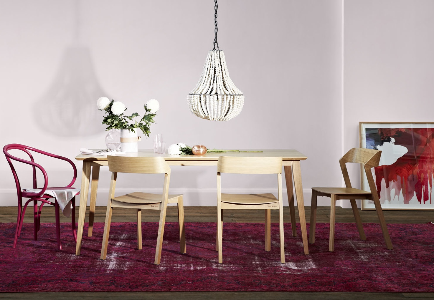WHITE LIM: Pink Bentwood Chair + TON dining table and chairs from Relax House, Pink Overdyed Rug from Halcyon Lake, Artwork by MYNE By Prudence Caroline