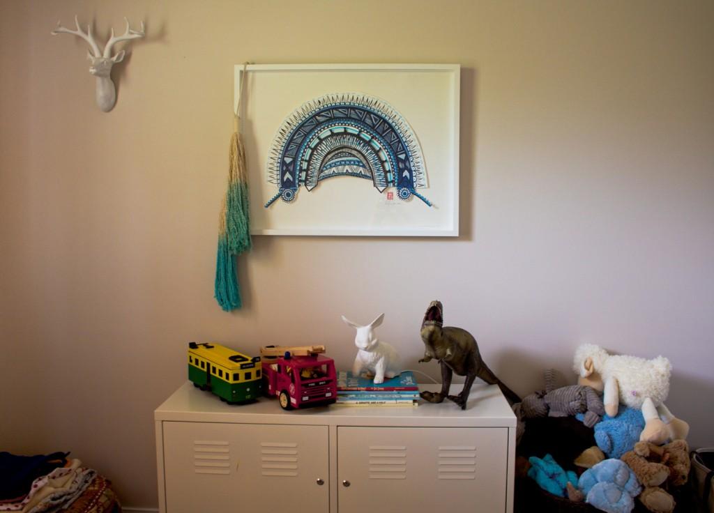Raff's room - Art by Merci Perci, Tassles from Chief and Kewpie, Lamp from Have You Met Miss Jones.